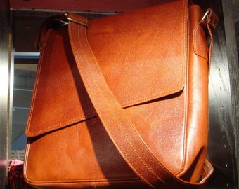 Contemporary Flap Over Leather Messenger/ laptop Bag