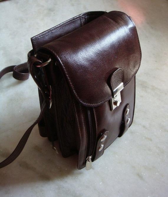 Day Planner/Organiser Full grain Leather Sling Bag-Brown
