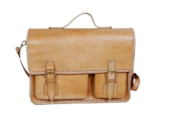 Eco Friendly 100% Handmade Leather Laptop Bag - Vegetable Tanned and Chemical Free