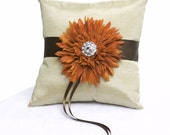 Champagne and burnt orange ring bearer pillow