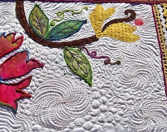 MarveLes SUMMER N' SUNSHINE Original Art Quilt Table Runner in White Satin, pink, green, multi