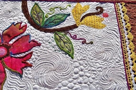 MarveLes SUMMER N' SUNSHINE Original Art Quilt Table Runner in White Satin, pink, green, multi