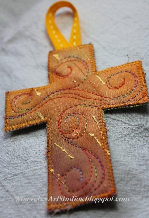 MarveLes  Mango GOLD CROSS Quilted  Bookmark Christian Easter Baptism keepsake Mothers Day Graduation quilted