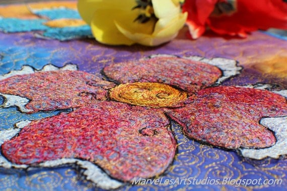 MarveLes THREAD FLOWER ART Quilt Country Lace Royal Blue turquoise pink yellow Table Runner Home Decor Wall Mother's Day Birthday Graduation