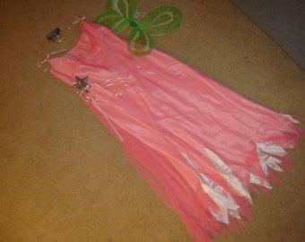 fairy princess apricot dress green wings headpiece wand womens sz M L Halloween Costume