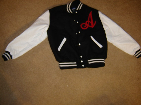 Letter jacket black white red A HALLOWEEN 50's Costume  Mens L