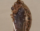 RESERVED FOR SHIRLEY W. - Luxurious Axinite Crystal - 14K Gold Filled Wire Wrapped Pendant