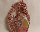 Colorful Ocean Jasper - Copper Wire Wrapped Pendant