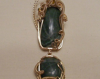 Hinged Wyoming Jade - 14K Gold Filled Wire Wrapped Pendant