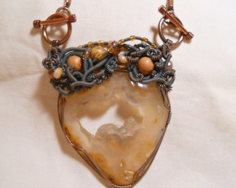 Graveyard Point Agate Wire Wrapped Pendant in Antiqued Copper