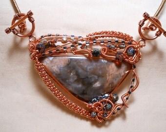 Prueheart Agate Copper Wire Wrapped Pendant