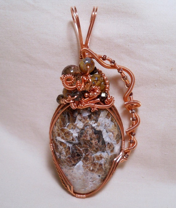 Garnet Crystal Wire Wrapped Pendant in Copper