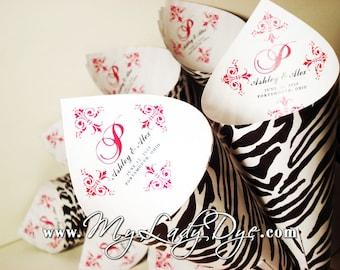 100 MINI Zebra Candy Cones Petal Cones Confetti Cones Popcorn Cones - By My Lady Dye