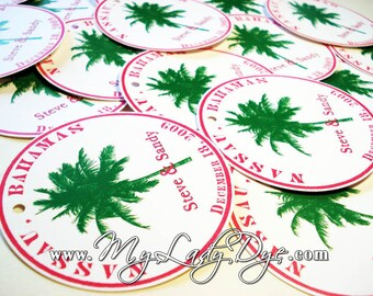 50 Palm Tree Tags Destination Favor Tags Tropical Beach Tag Welcome Bag Gift Tag - By My Lady Dye
