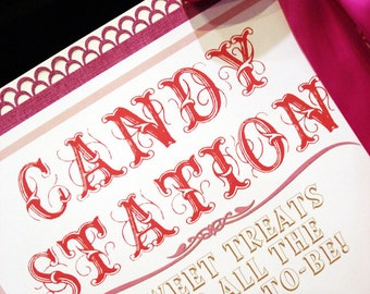 Cottage Chic Shabby Chic Candy Station Sign Birthday Party Sign - By My Lady Dye