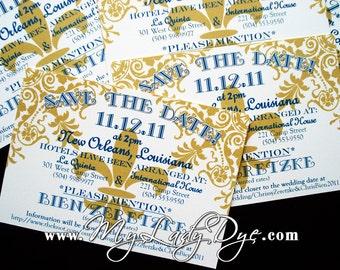100 Fleur De Lis Save The Date Cards - Fun, Festive, & Regal - By My Lady Dye
