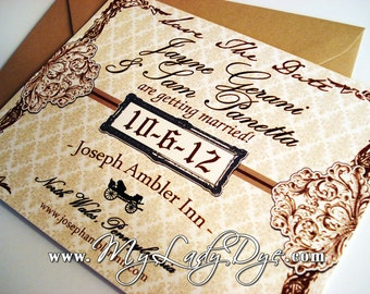 100 Colonial Historic Rustic Victorian Themed Save The Dates - Horse Carriage, Filigree, Damask, Frame, Scroll - By My Lady Dye