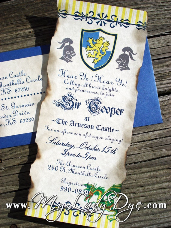 25 Medieval Dragon and Knight Themed Birthday Invitations - Dragon, Knight, Regal, Old, Rustic, King, Shield - By My Lady Dye