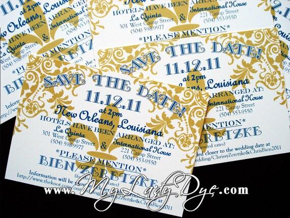 100 Fleur De Lis Save The Date Cards Fun Festive Regal By My