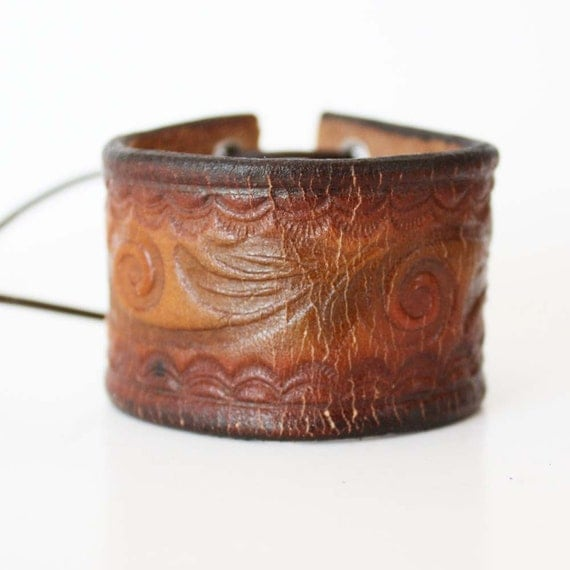 Weathered Leather Cuff - Upcycled