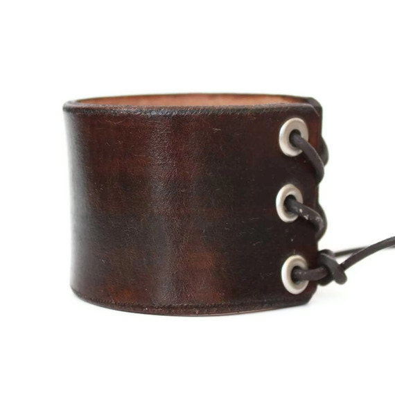 Dark Brown Leather Cuff - Handmade Wide Wrist Band