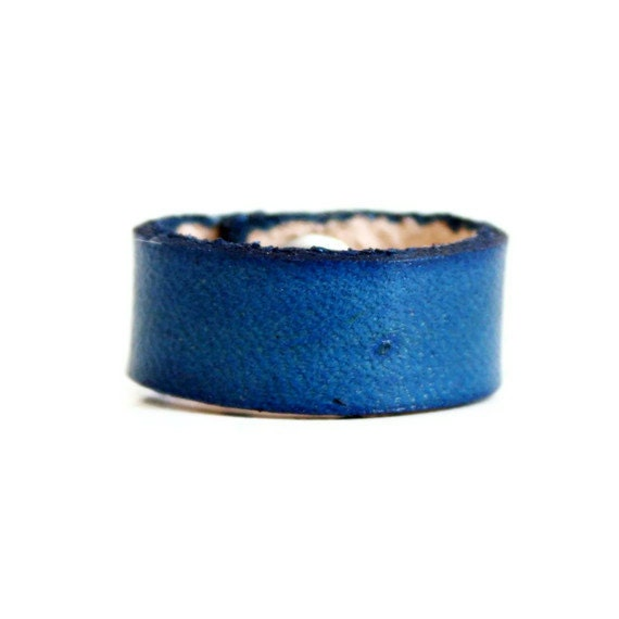 Blue Leather Ring - Handmade Ring