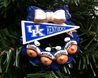 Personalized Kentucky Wildcats Wreath Family Polymer Clay Christmas Ornament
