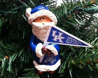Personalized Kentucky Wildcats Santa Polymer Clay Christmas Ornament