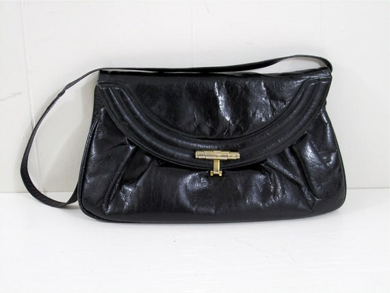 SALE Vintage 80's Distressed Pleated Envelope Clutch Shoulder Bag Handbag