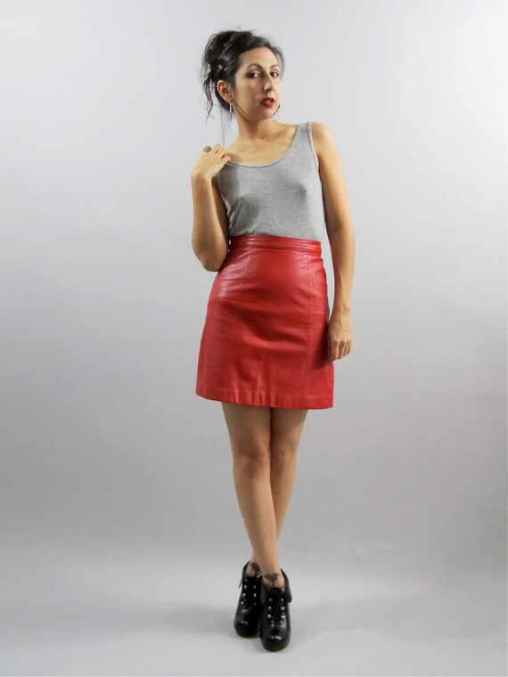Vintage 80's Berman's Red Hot Leather High Waist Bandage Mini Skirt XS
