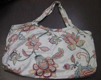 Large floral tote bag.  Reversible.  Handmade purse.  Decorator cotton fabric.  Red paisley lining.