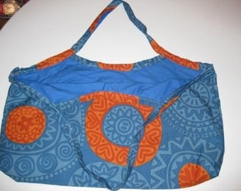 Blue orange tote.  Reversible IKEA abstract large fabric purse bag.  University of Florida Gators colors.
