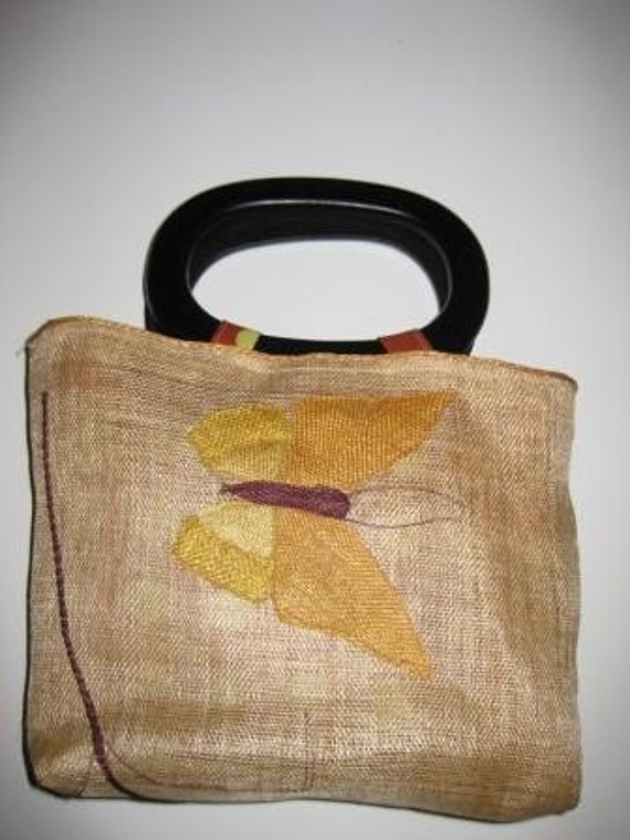 Yellow butterfly embroidery purse handbag bag.  Handmade from embroidered Quaker lace vintage placemat.  Wood handles.  Polka dot lining.