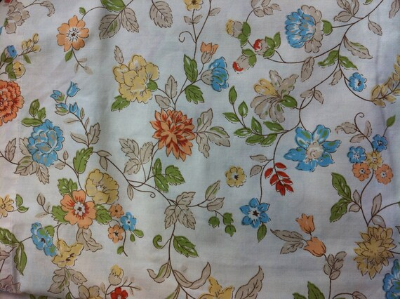 Vintage floral sheet.  King flat sheet.  Cream, yellow, blue, green and orange flowers.