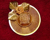 PRICE REDUCED Vintage Goldtone Mesh Hat Brooch Jewelry With Little Flower On Brim