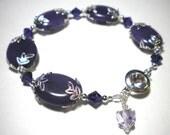 Reserved for Joann Purple Amethyst Awareness Bracelet Lupus Fibromyalgia
