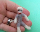 Miniature sock monkey for your doll needs, hand needle felted perfect for that doll or monkey collector
