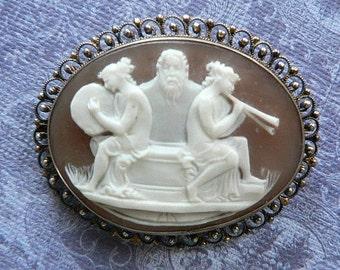 SALE Awesome Vintage Mythological Cameo Two Goddess and Zeus