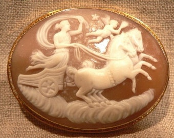 Sale Vintage Valentine Cameo Gold Setting Goddess, Horses Chariot and Cupid TREASURY ITEM