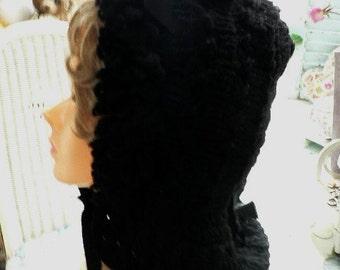 Antique Black Fancy Knit Mourning Bonnet Hat