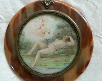 Romantic Winged Hearts Take Flight with Nude Sentimental Love Token Valentine Tortoiseshell Miniature Signed
