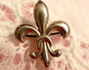 SALE Vintage Sterling Fleur De Lis Watch Pin