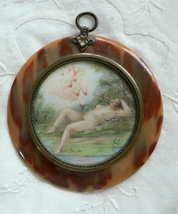 Romantic Winged Hearts Take Flight with Nude Sentimental Love Token Valentine Tortoiseshell Miniature Signed