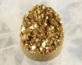 Gold. Pear Shaped Titanium Druzy Agate Cabochon for Jewelry Making or Crafts.