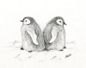 Penguin chicks - original pencil sketch