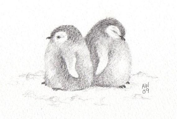 Penguin chicks original pencil sketch by wildsunart on Etsy