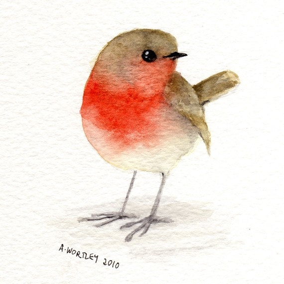 little red robin original watercolour. Black Bedroom Furniture Sets. Home Design Ideas