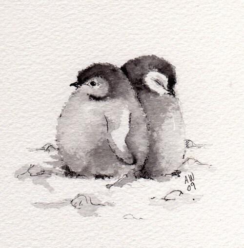 2 Petits Pingouins Poussins Ink/aquarelle Originale