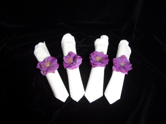 Hydrangea Flower Napkin Rings, Silk Wedding Accessory Table Decoration, Set of 4 Handmade