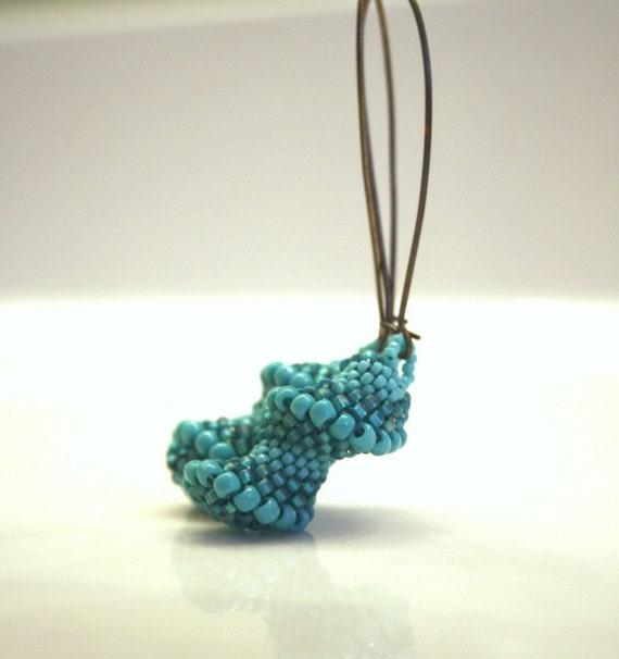 Beadweaving Earrings . Cellini Spiral Beadweaving Stitch . Aqua Blue Jewelry . Long Dangle Dramatic OOAK Earrings
